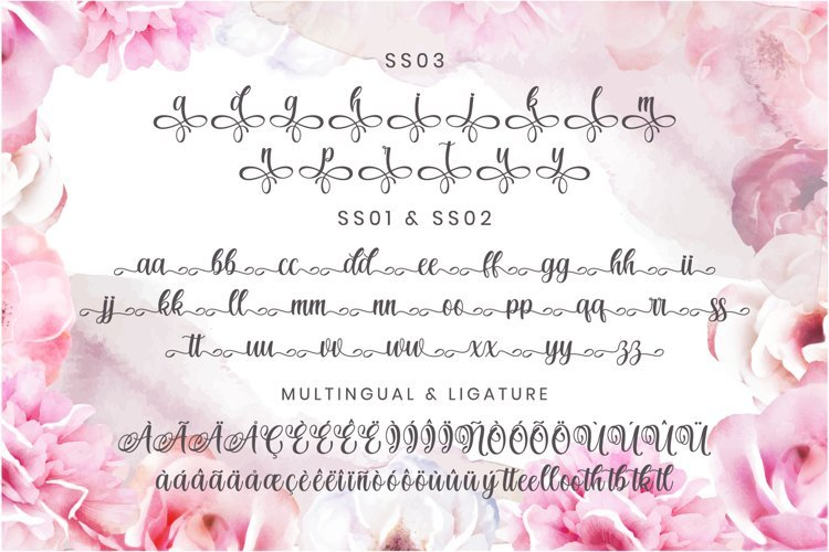 On a pink background with peonies, there is a general view of the font in different formats.