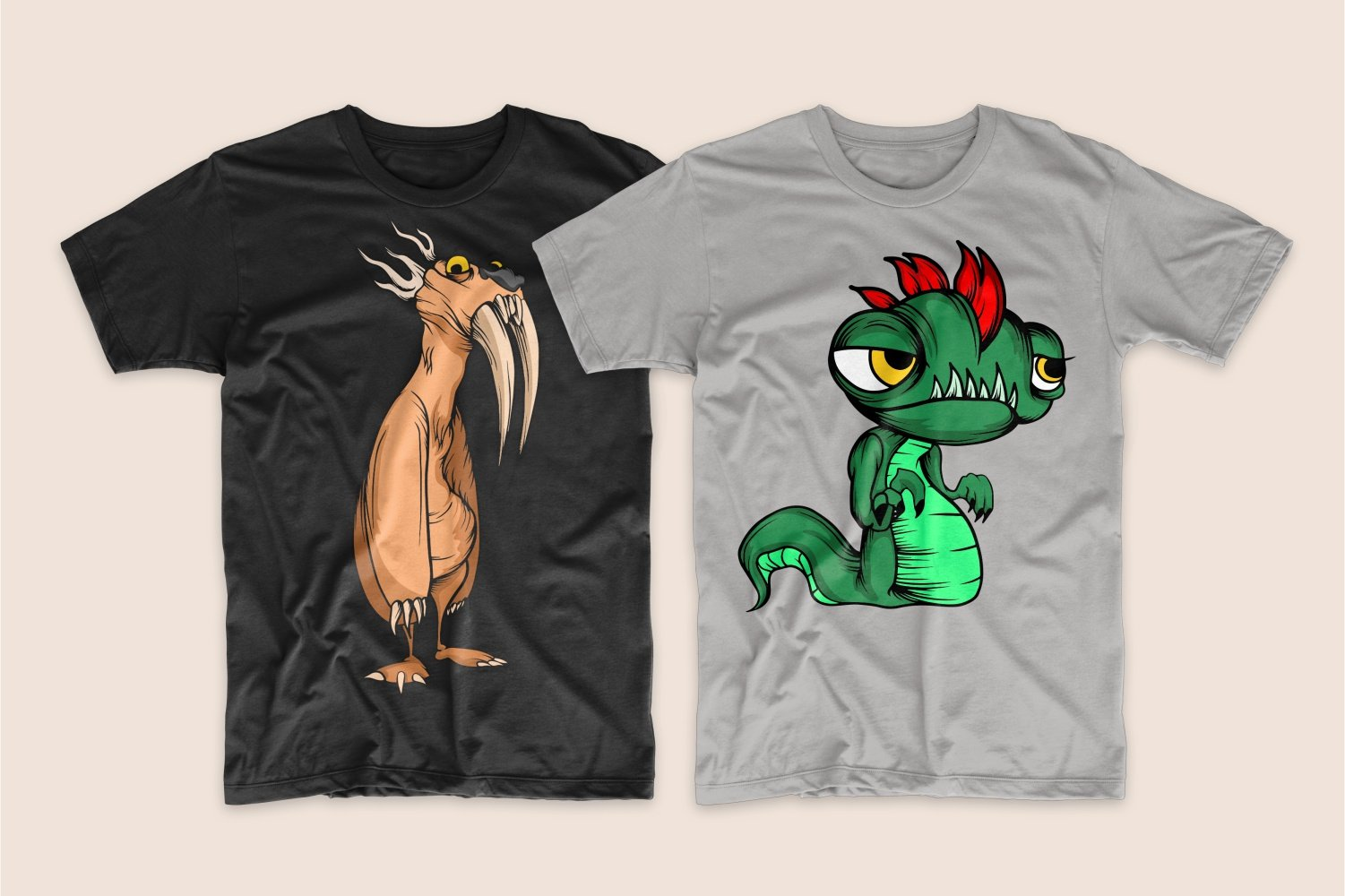 A black T-shirt with a ginger monster with large fangs and a gray T-shirt with a round-headed green monster.