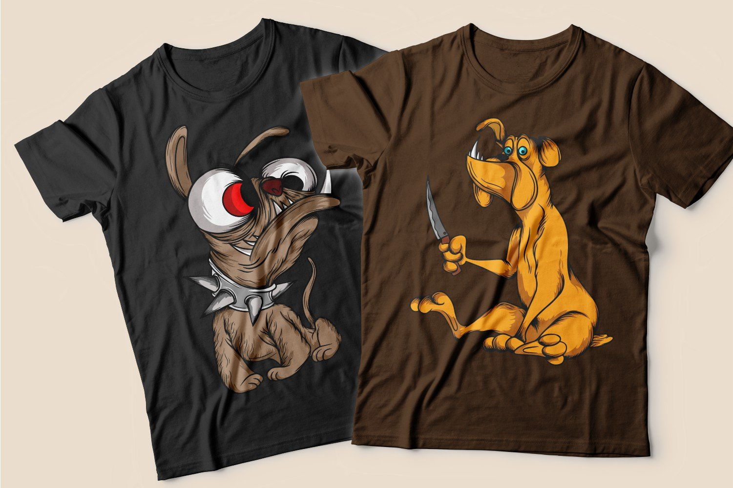 Two T-shirts: black with a skinny pug and a spiked collar and brown with a red dog with a knife.