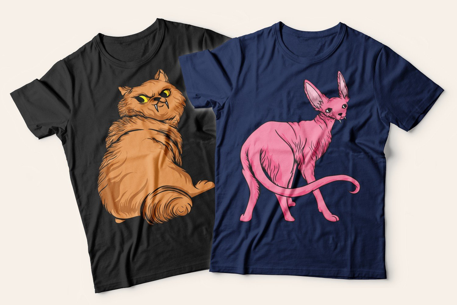 Two T-shirts with cats: one blue with an angry fluffy brown cat, the other with a pink sphinx cat.