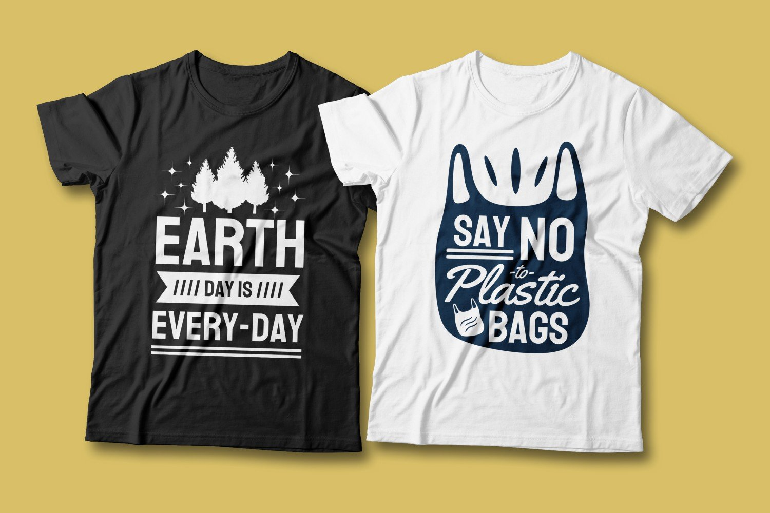 Two T-shirts - white and black. Both are about living in a clean, plastic-free environment.