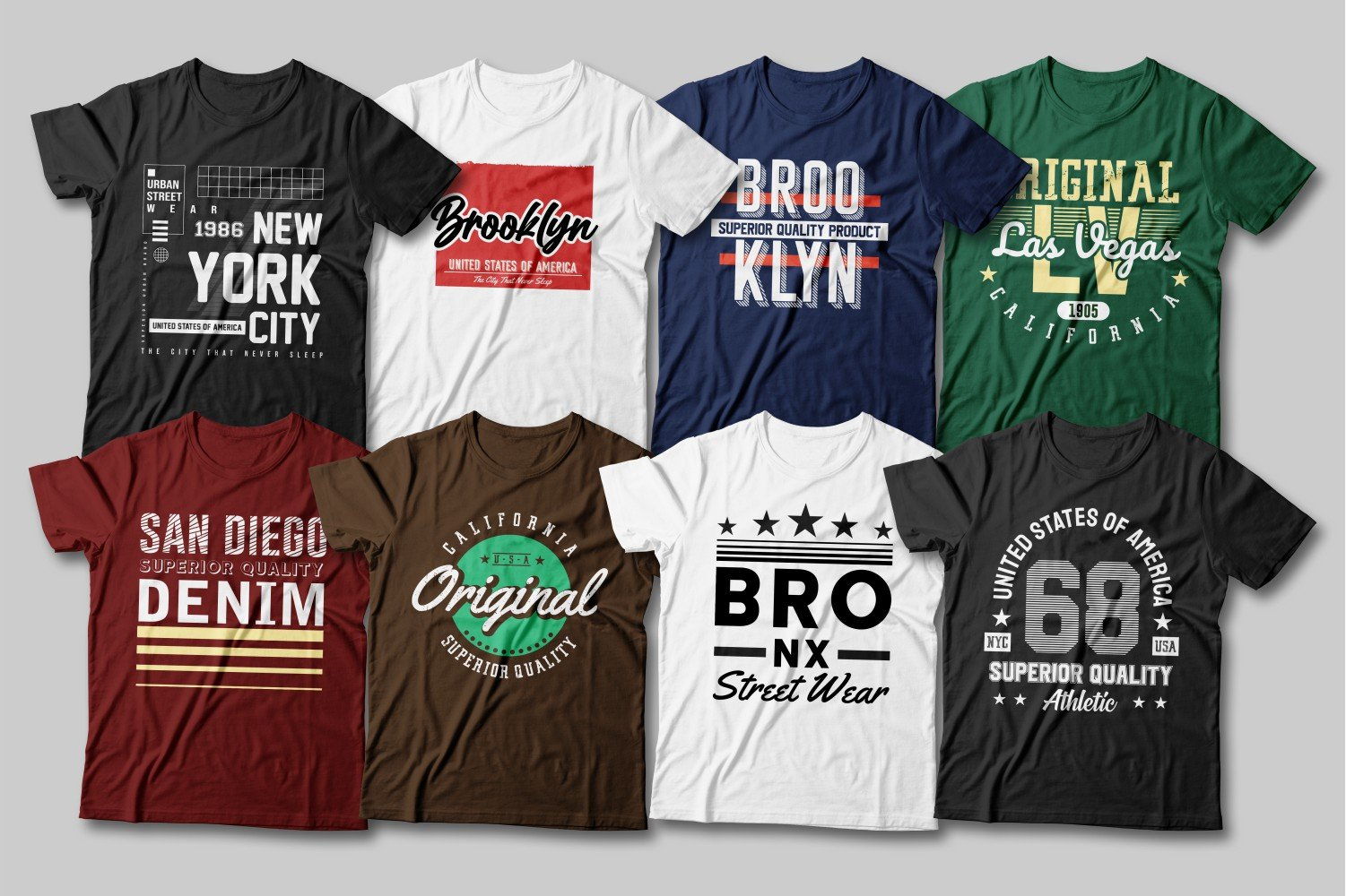 Multi-colored T-shirts with bright inscriptions in a different style.