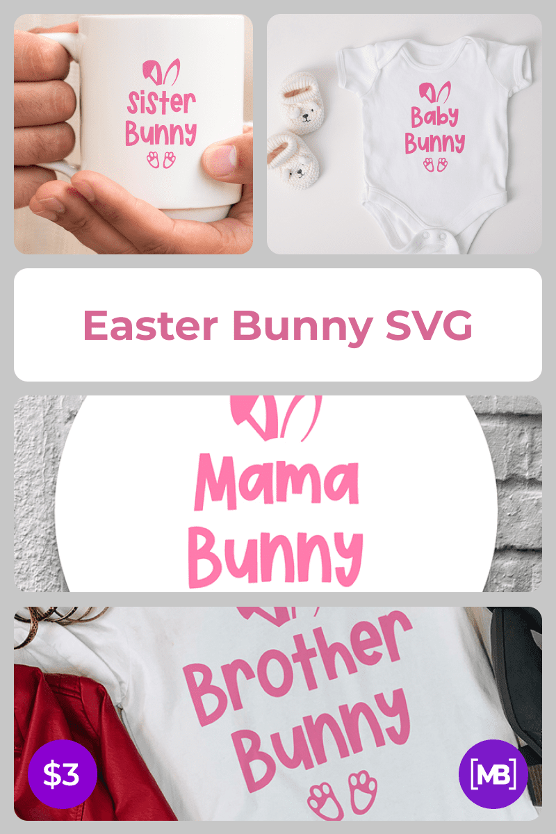 Easter Bunny SVG. Collage Image.