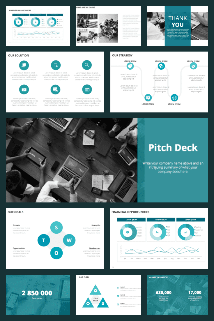Clean Style Pitch Deck Template 2021: Powerpoint, Google Slides, Keynote. Collage Image.