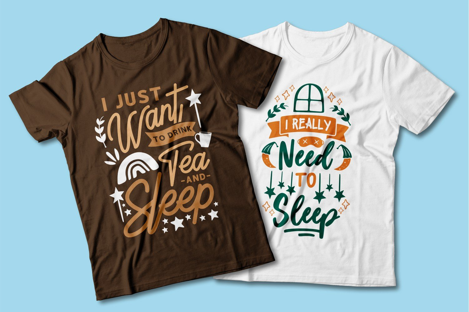 Brown and white T-shirts with bright print.