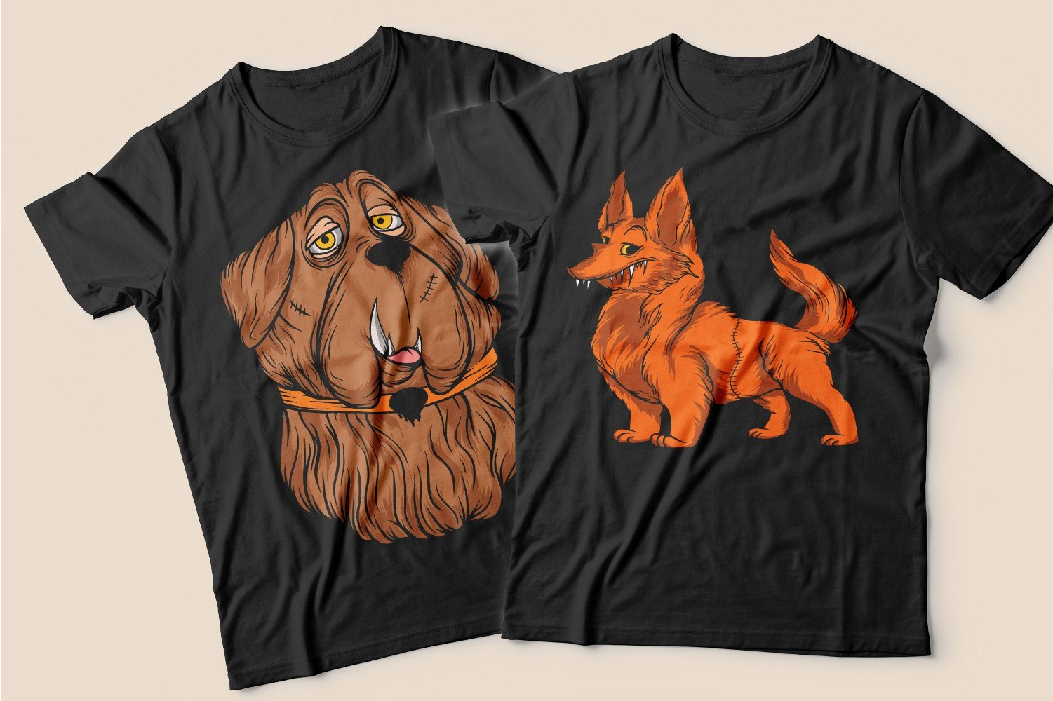 Two black T-shirts with reddish-brown dogs.