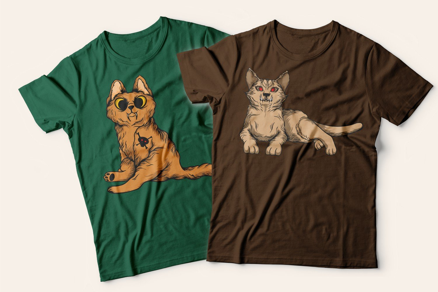 Two T-shirts with cats: one green with a playful beige kitten, the other brown with a calm beige cat.