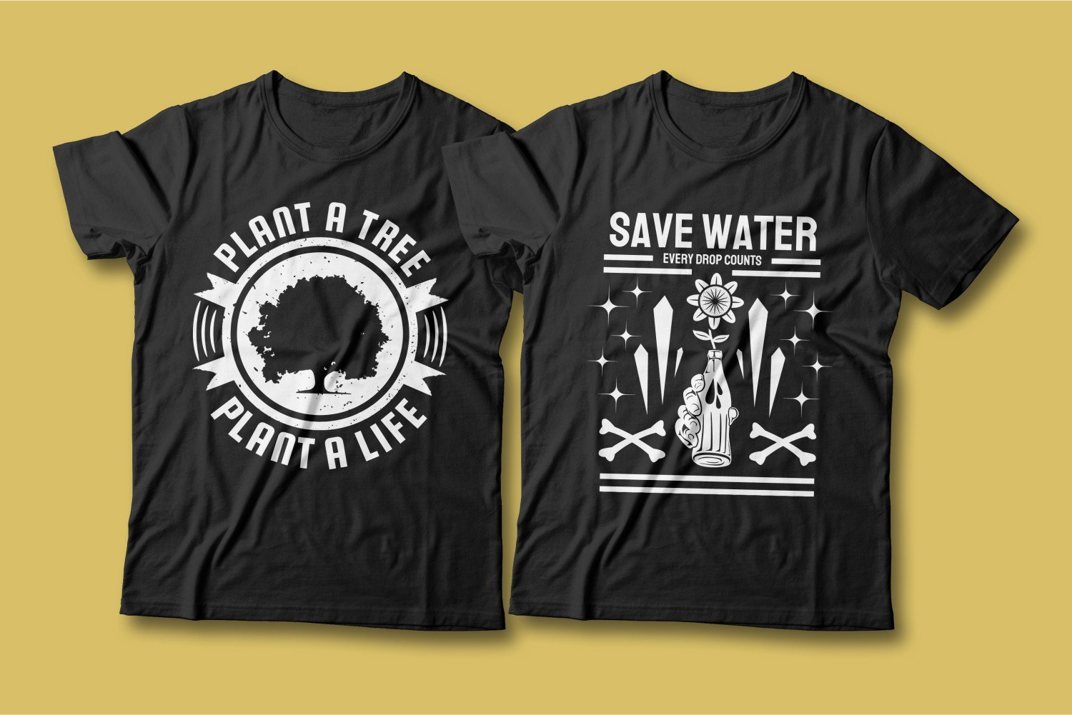 Two black T-shirts with an inscription and a picture about water conservation.