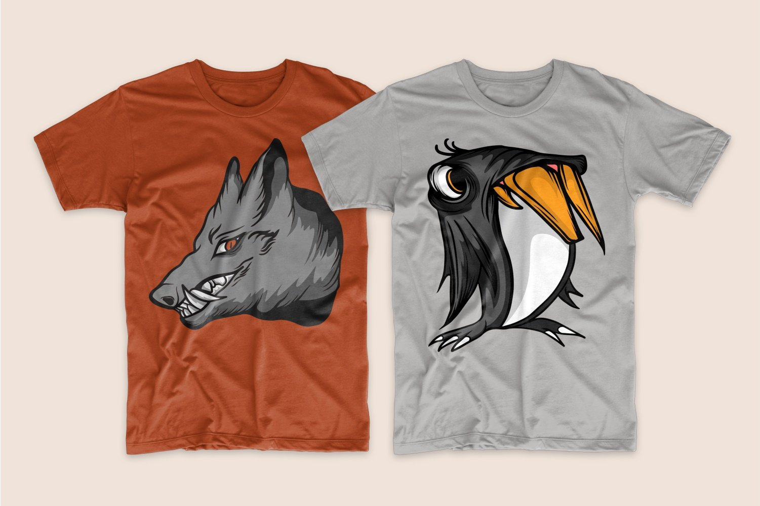 A brown T-shirt with a wolf with huge fangs and a gray one with an atrophied penguin.