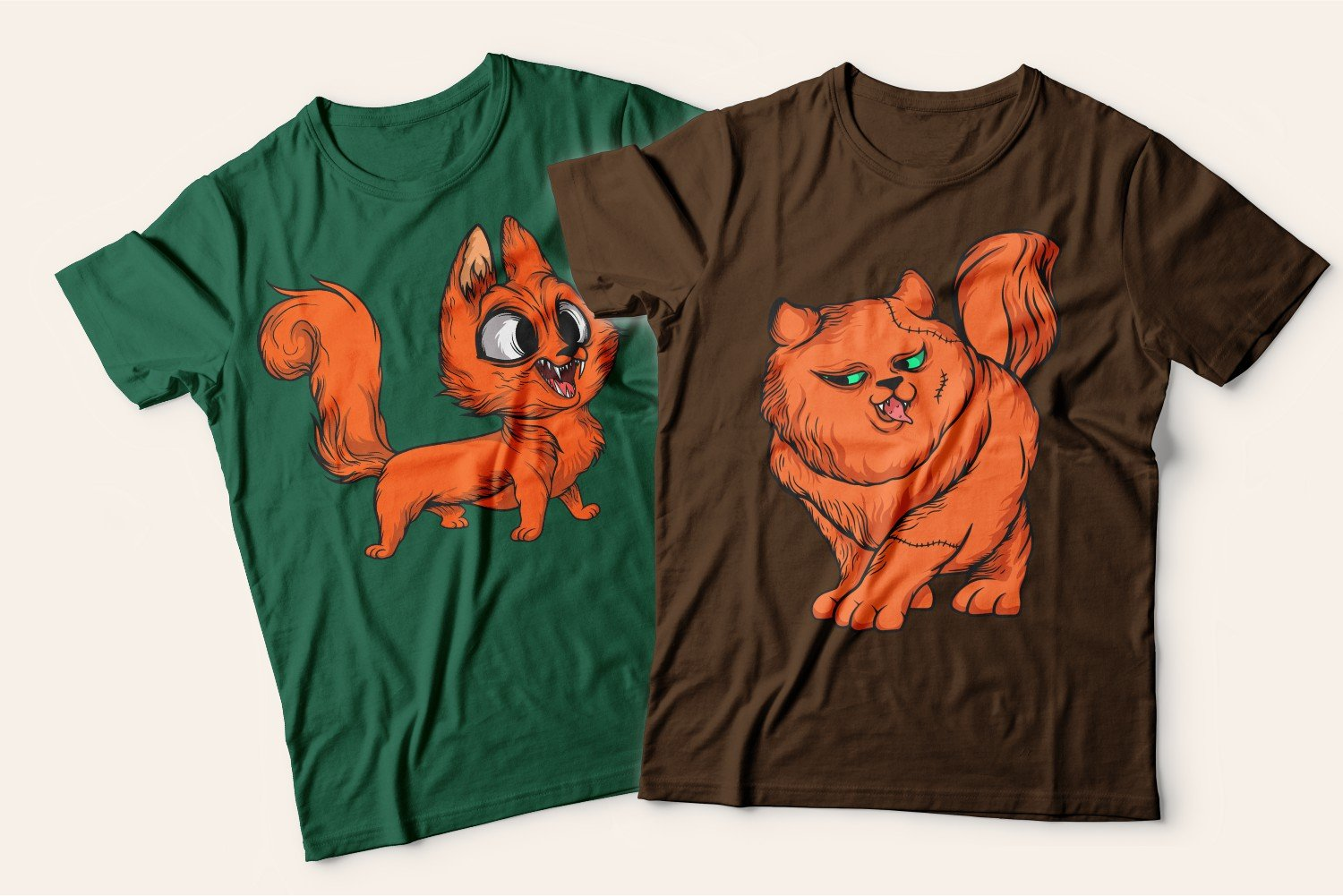 Two T-shirts with cats: one is green with a playful cheerful ginger kitten, the other is brown with a flirty ginger cat.
