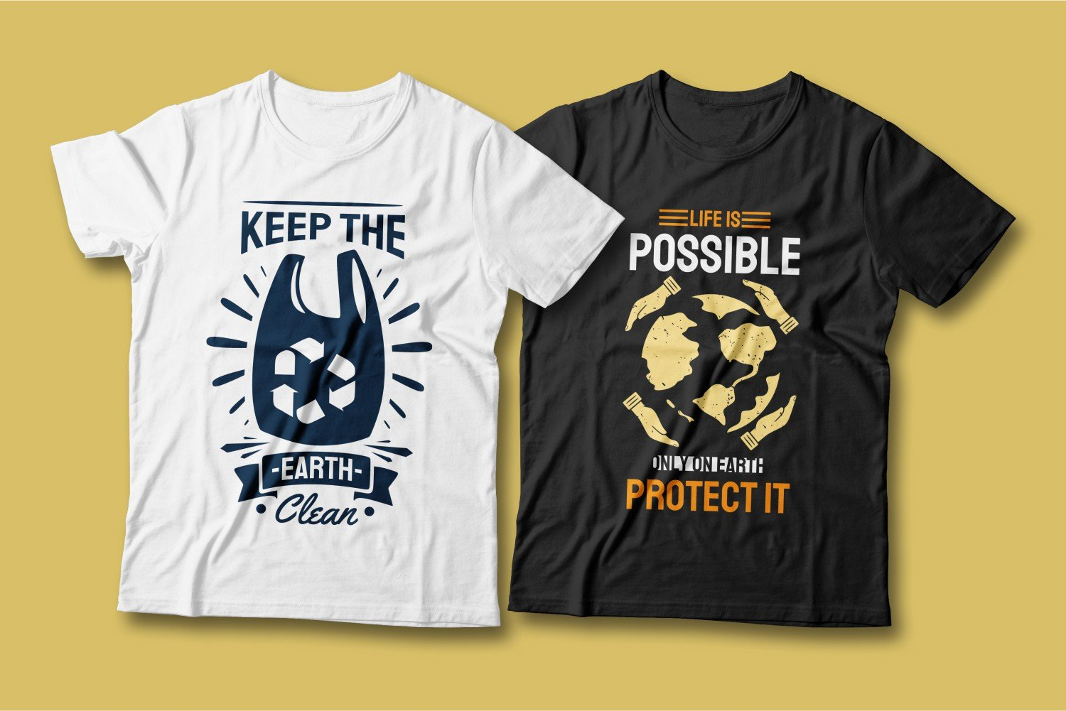 Two T-shirts - one white, the other black; they are with different images, but with the same meaning - recycling.