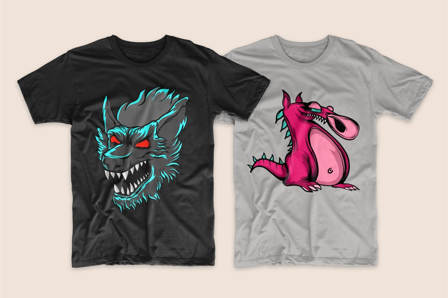 Black T-shirt with the image of a werewolf and gray with a pink flirty dragon.
