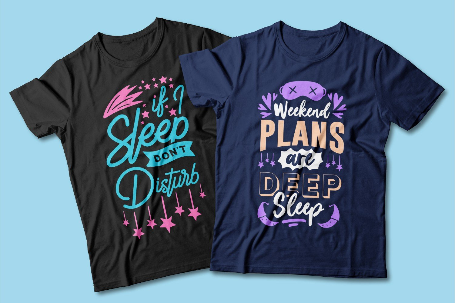 Black and blue T-shirts with a crew neck and a sleep mask.