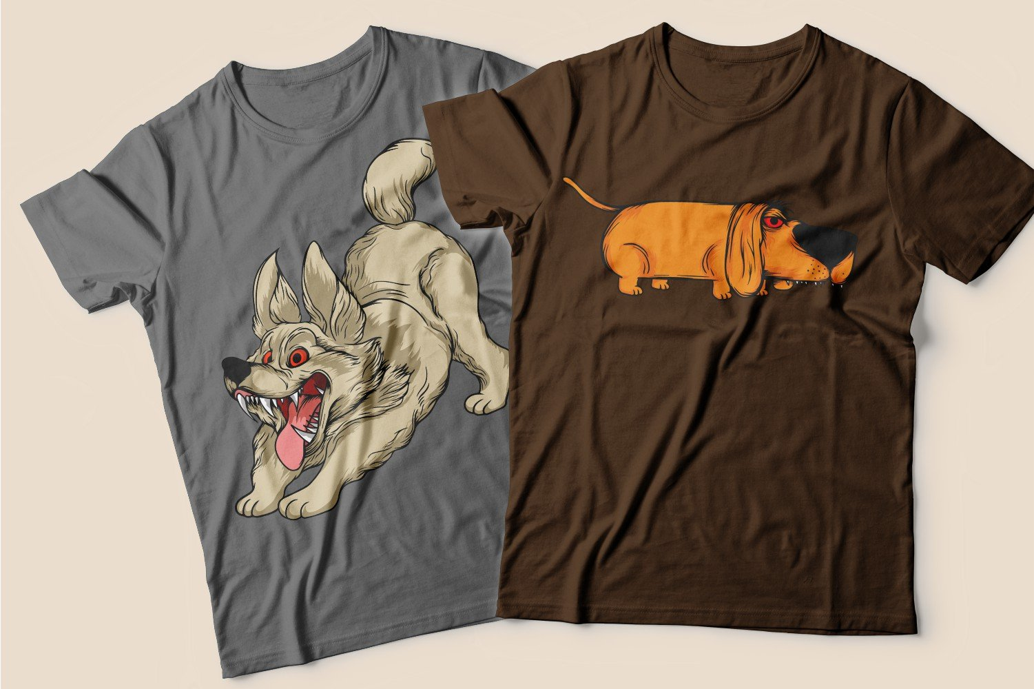 Two T-shirts: one brown with a dachshund, the other gray with a happy dog.