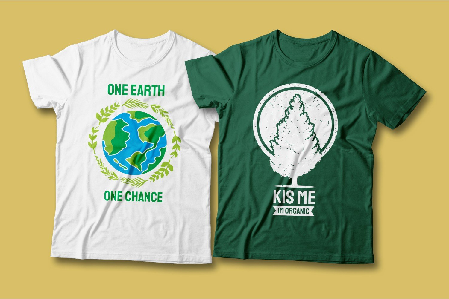 Two T-shirts - one white, the other green; they are with different images, but with the same meaning.