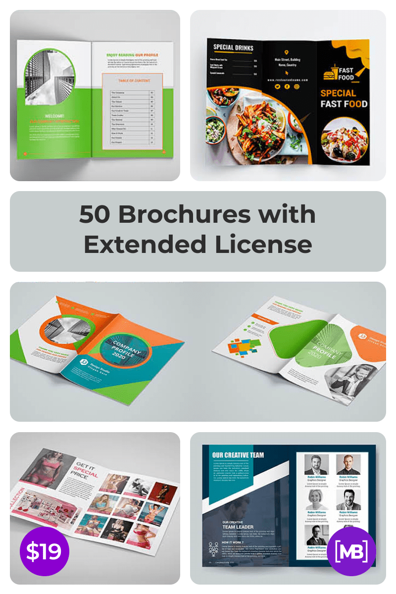 50 Brochures with Extended License - Only $19. Collage Image.