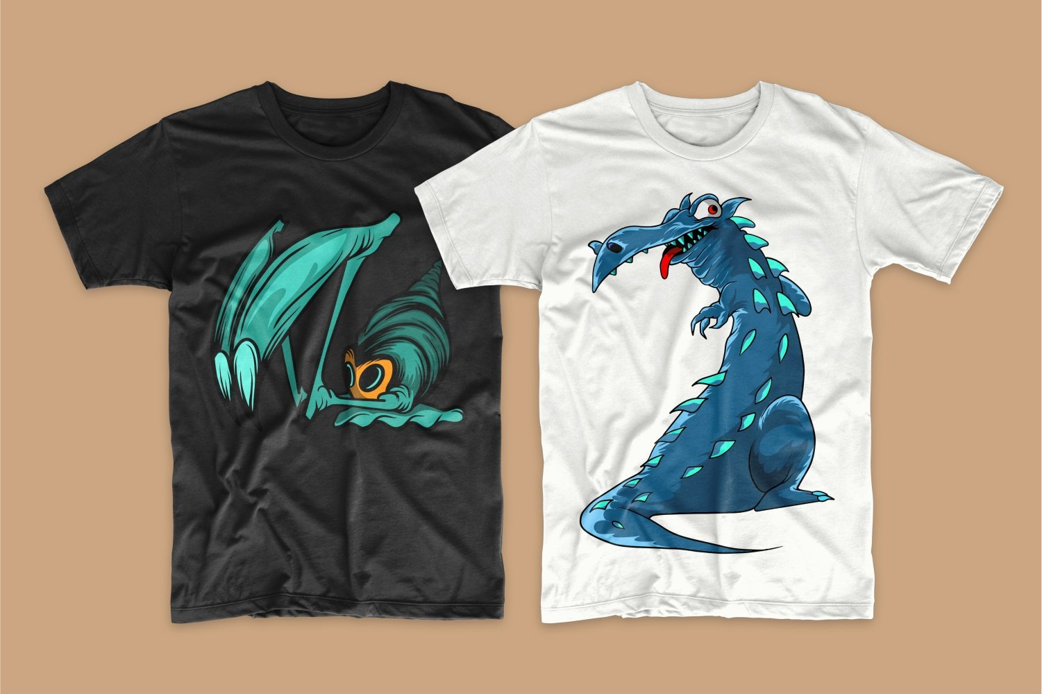 Black T-shirt with a green long-whisker snail and white with a blue dragon.