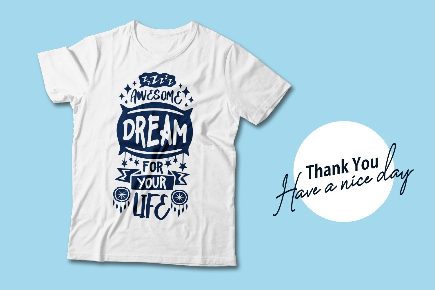 White T-shirt with blue lettering.