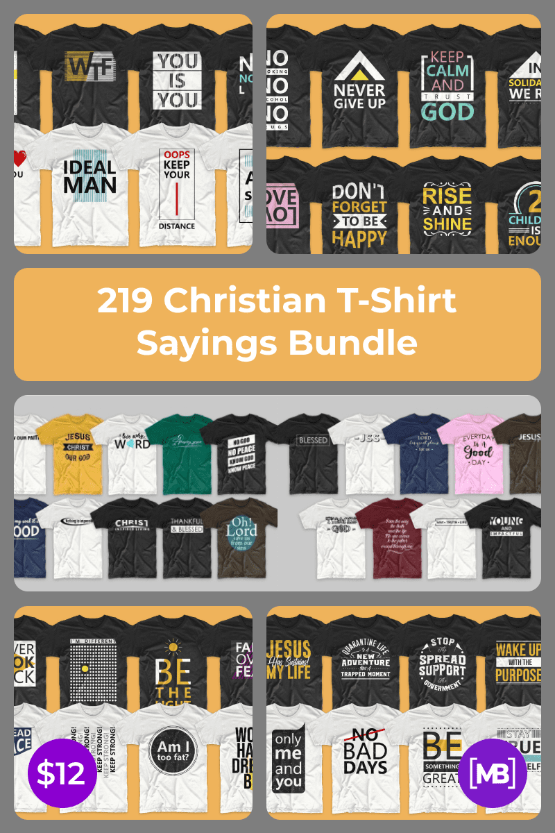 219 Christian T-Shirt Sayings Bundle. Collage Image for Pinterest.
