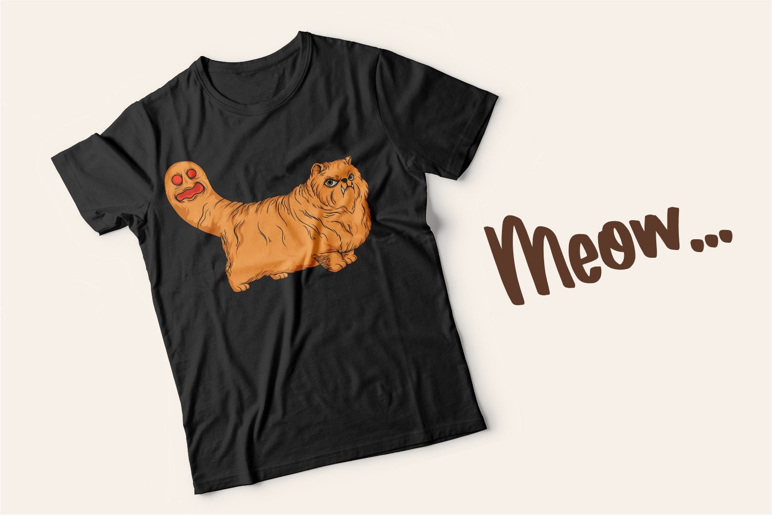 Black T-shirt with a disgruntled fluffy beige cat and meow lettering.