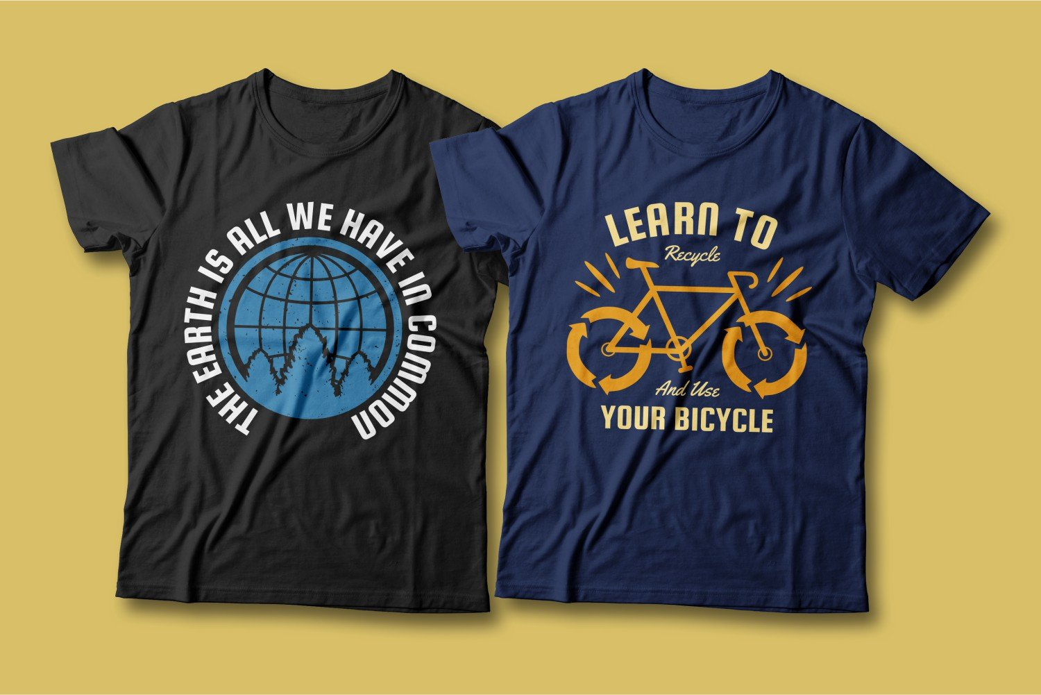 Two T-shirts - one blue, the other black; call for the preservation of nature and a healthy lifestyle.