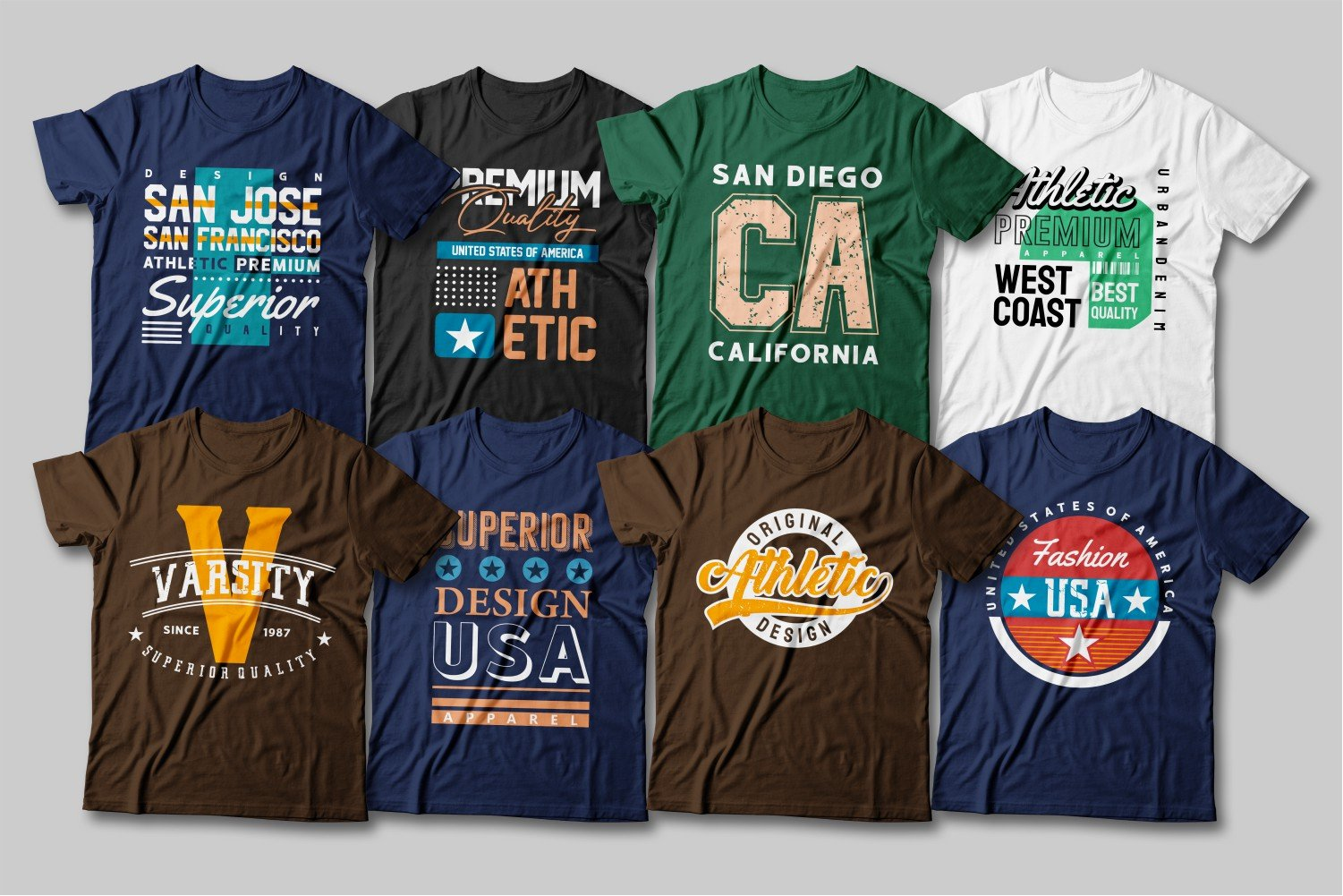 T-shirts in different colors and with different logos and fonts.
