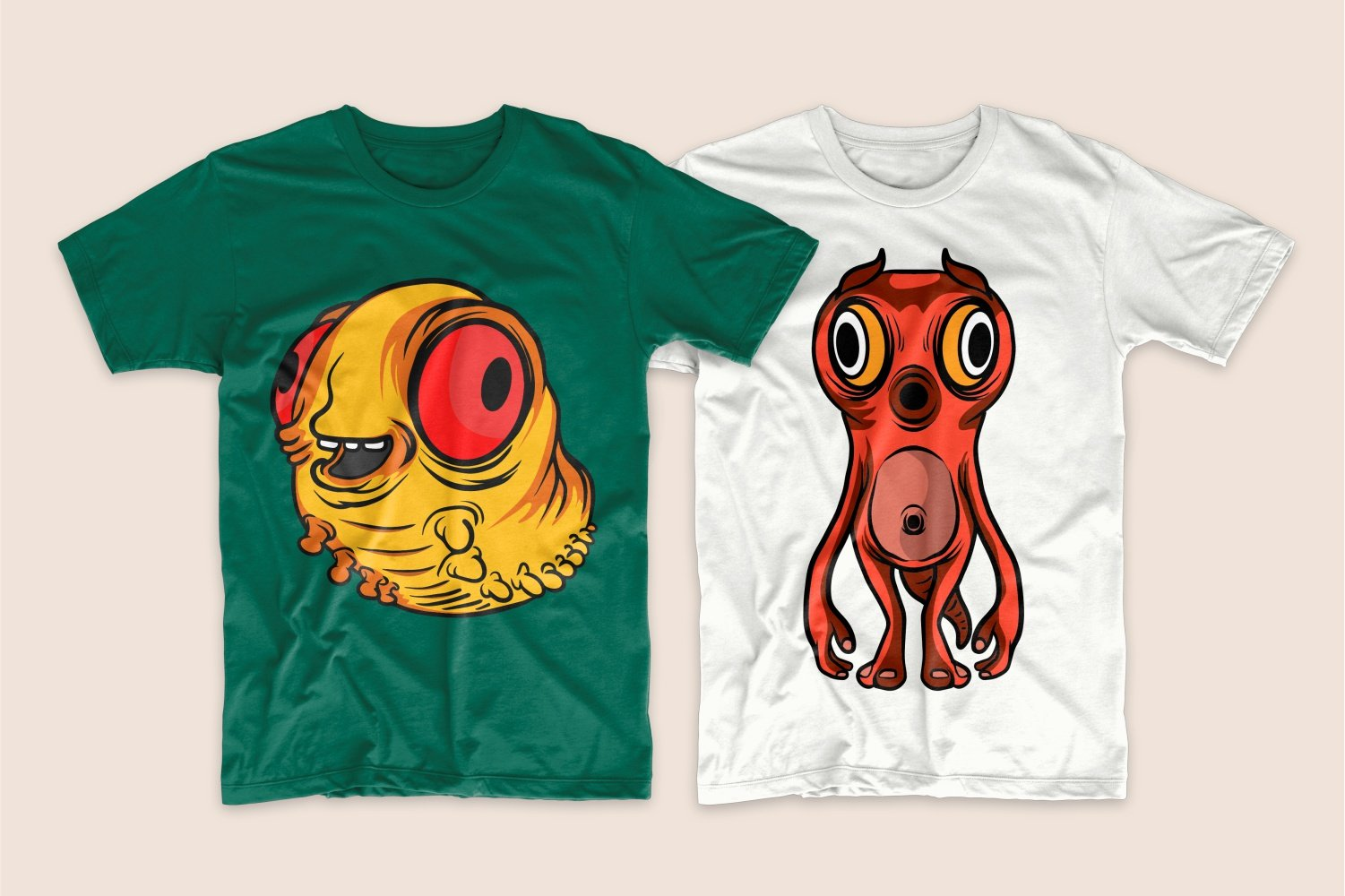 Green T-shirt with a yellow centipede and white with a red monster.