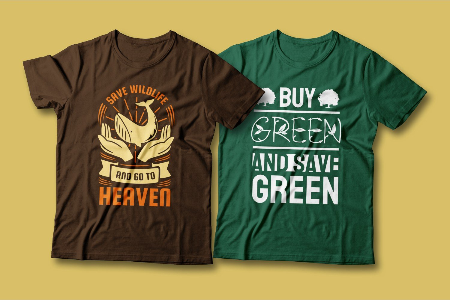 Two T-shirts - one brown, the other green; both call for wildlife conservation.