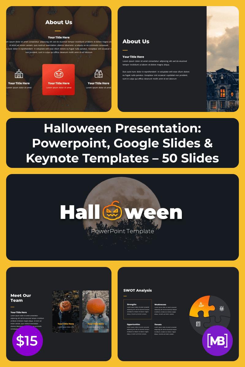 Halloween Presentation: Powerpoint, Google Slides & Keynote Templates - 50 Slides. Collage Image.