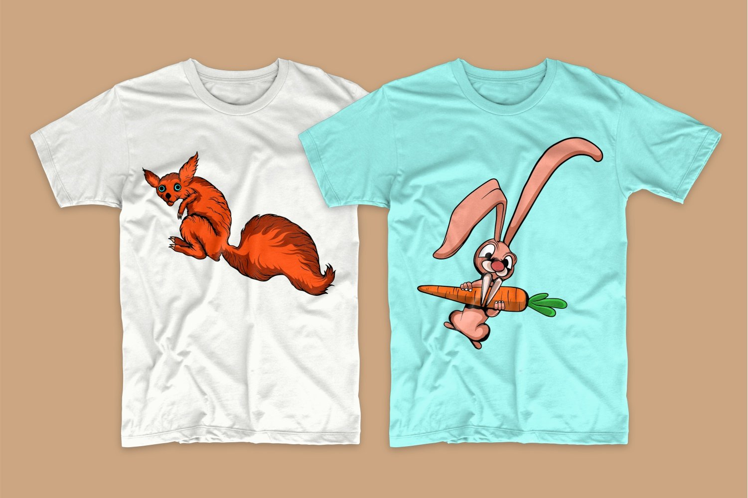 White T-shirt with a squirrel with a big tail and sky blue with a rabbit.