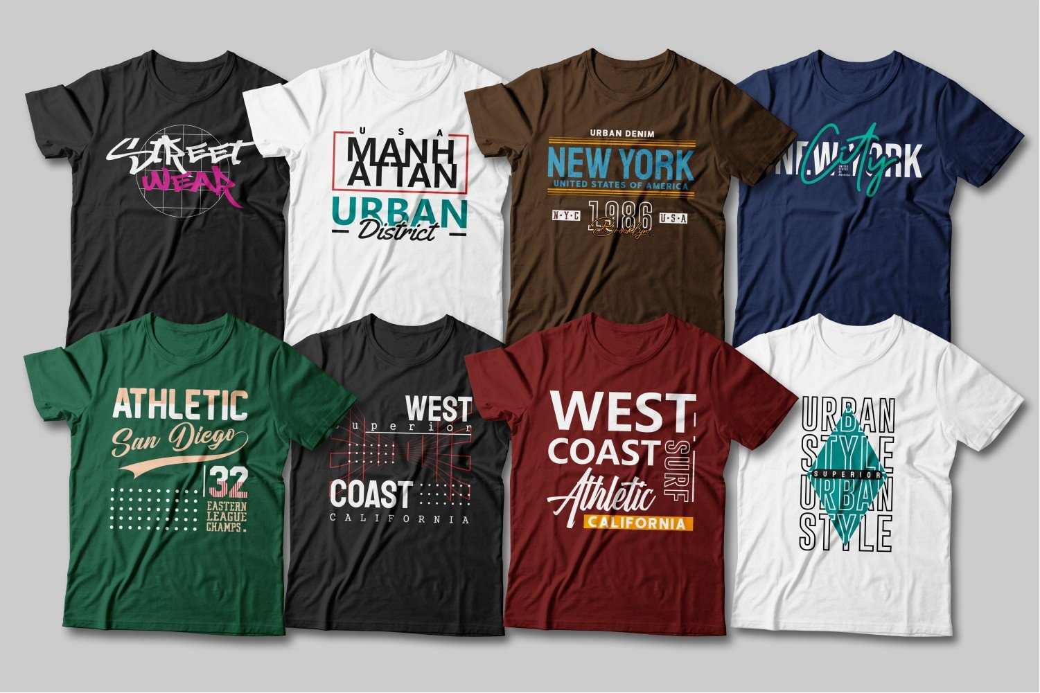 White, blue, brown, burgundy and black T-shirts with different fonts.