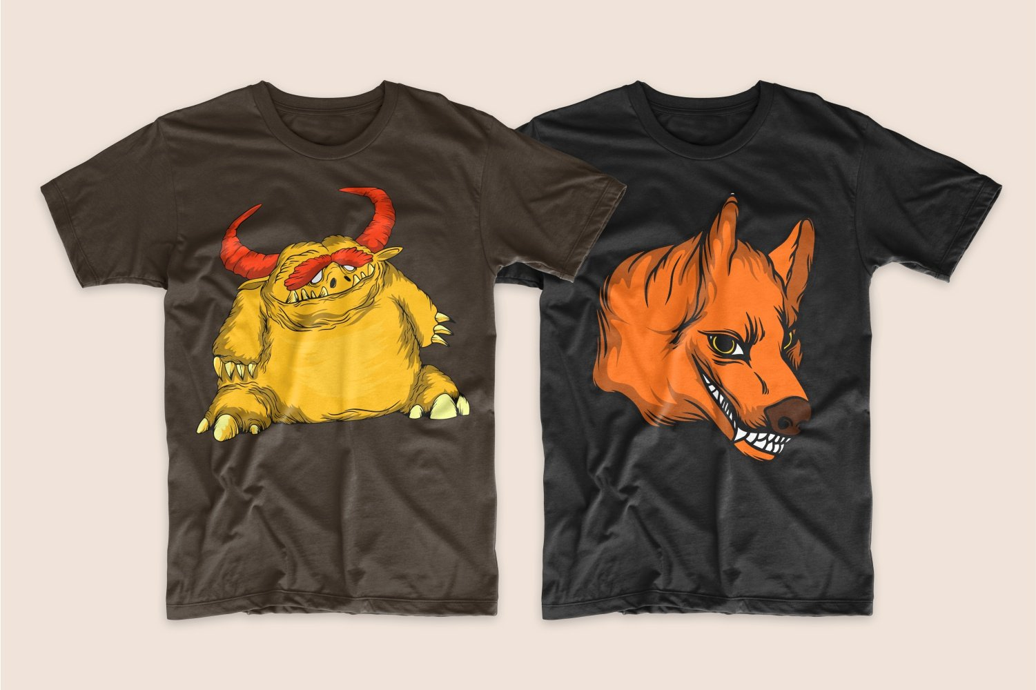 A brown T-shirt with a large yellow monster with red eyebrows and a black one with a sly fox.