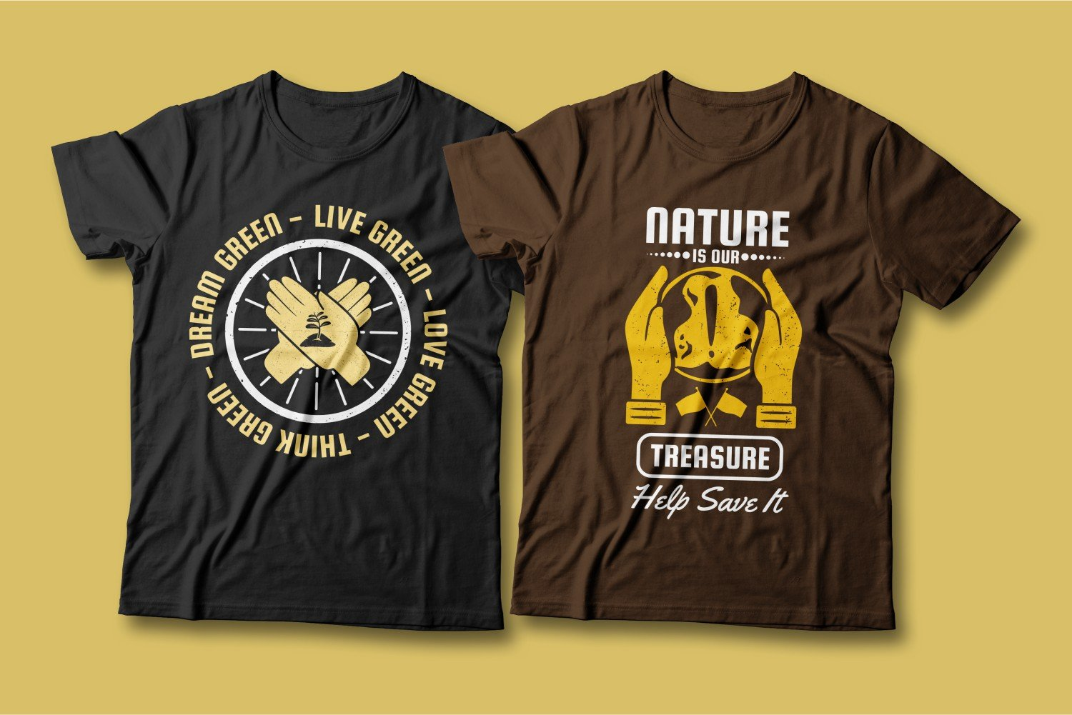 Two T-shirts - one black, the other brown; both show palms.