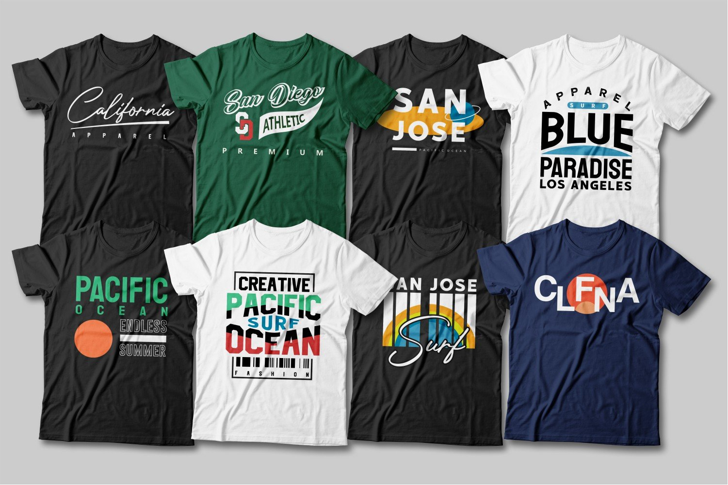 Large selection of T-shirts for every taste.