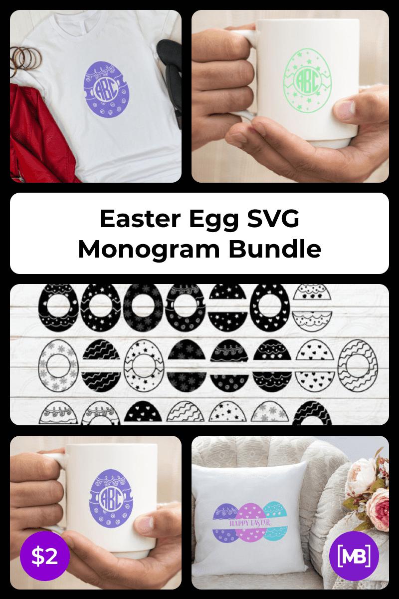 Easter Egg SVG Monogram Bundle. Collage Image.