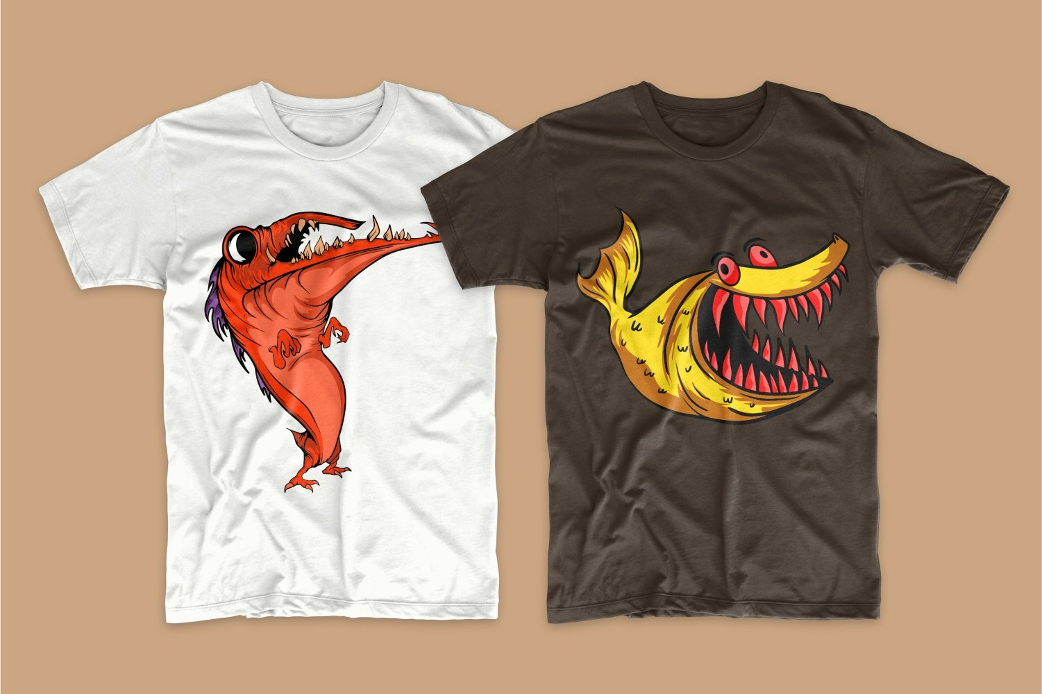 A white T-shirt with a red long-billed monster and a brown one with a yellow shark.