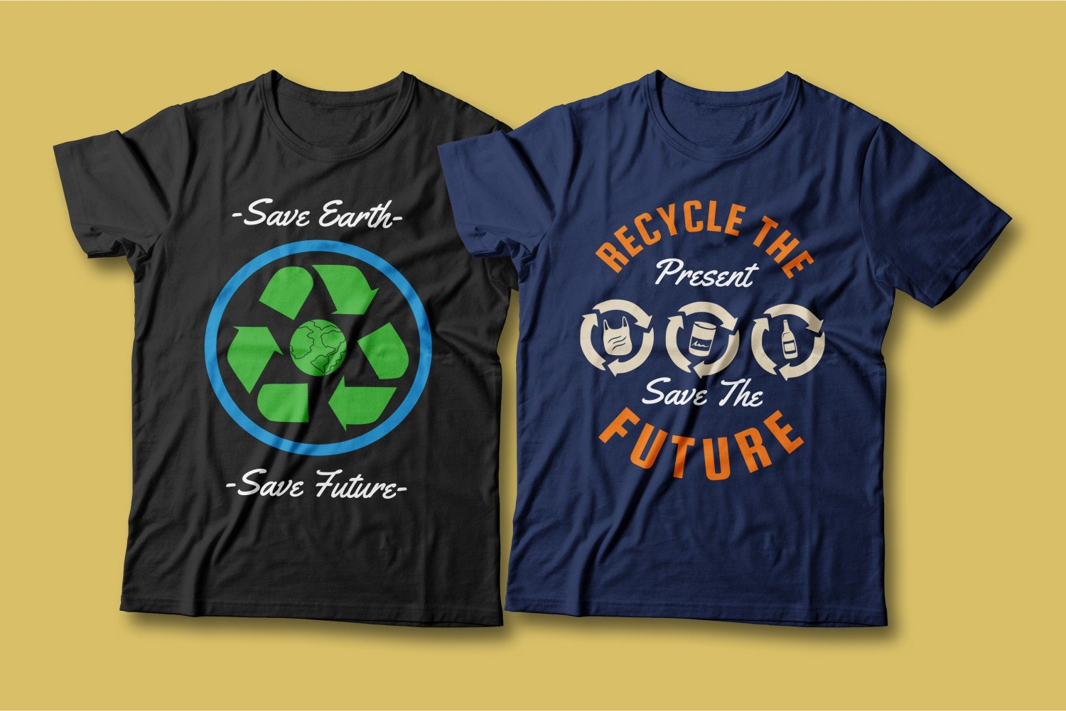 Two T-shirts - one black with the image of a green planet surrounded by trash, the other - green with recycling.