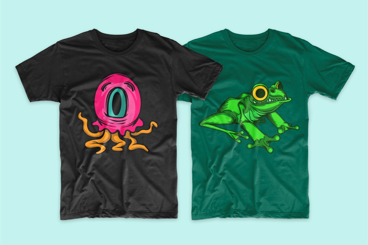 Black T-shirt with a one-eyed pink octopus and green with a frog.