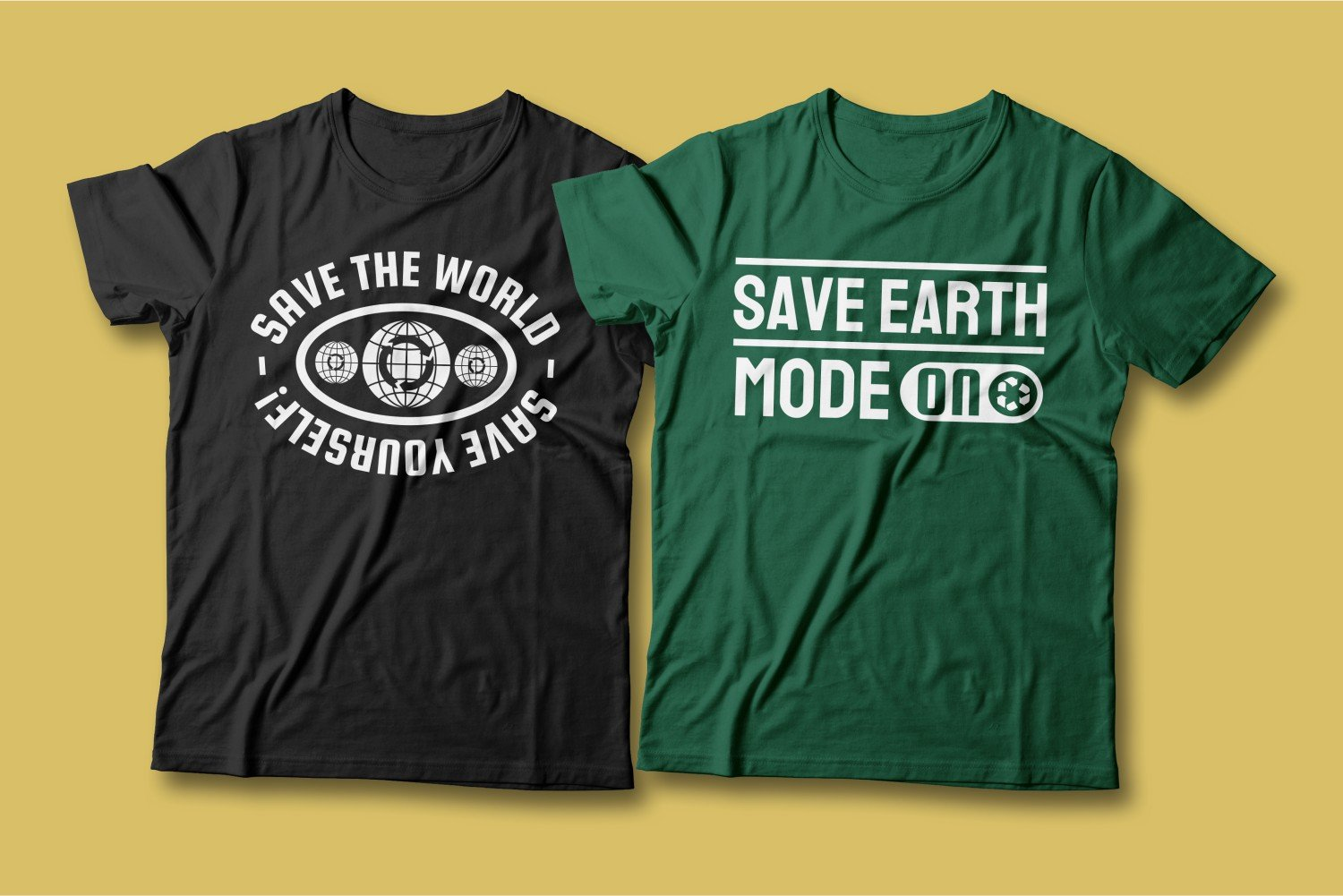 Two T-shirts - one green with modern lettering, the other - black.