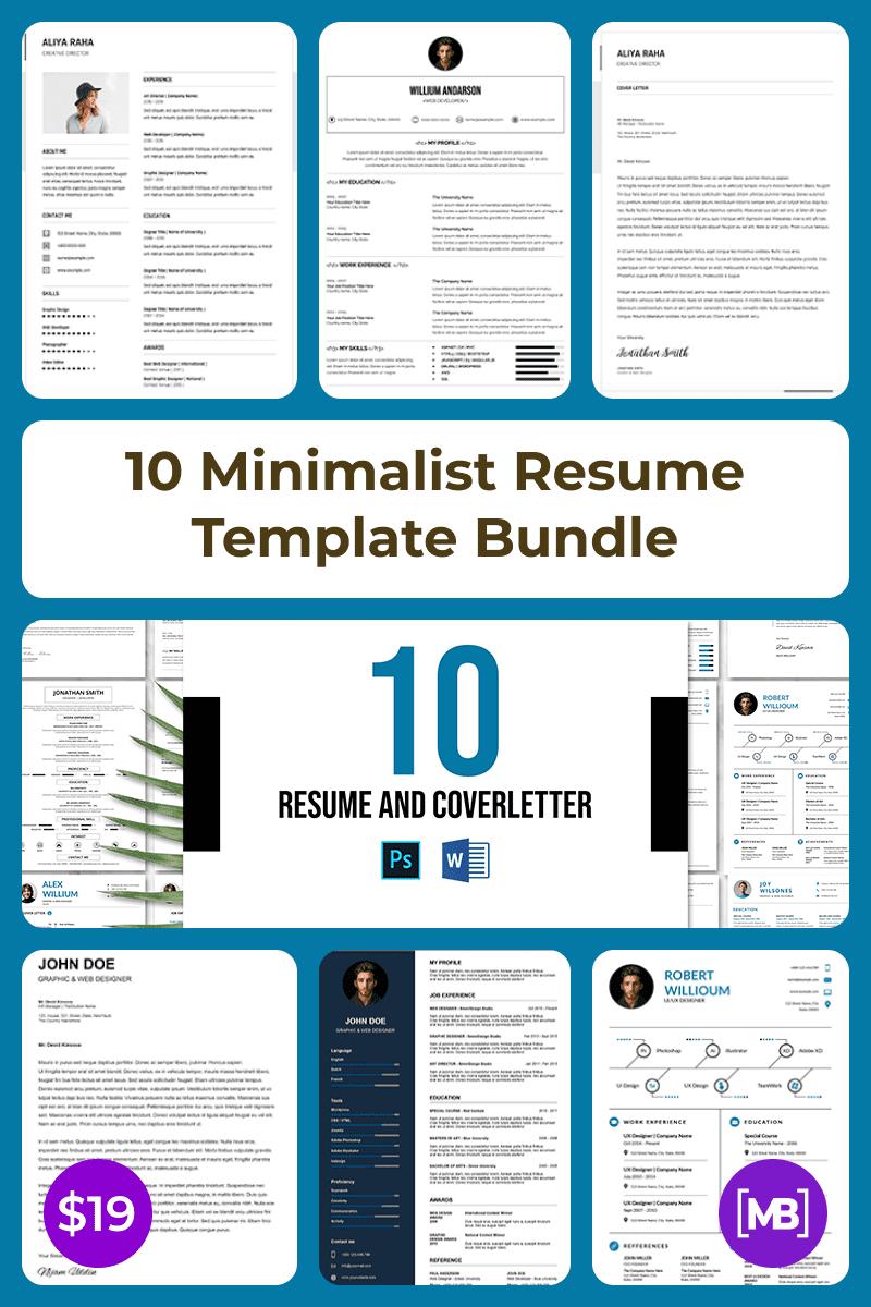 10 Minimalist Resume Template Bundle. Collage Image.