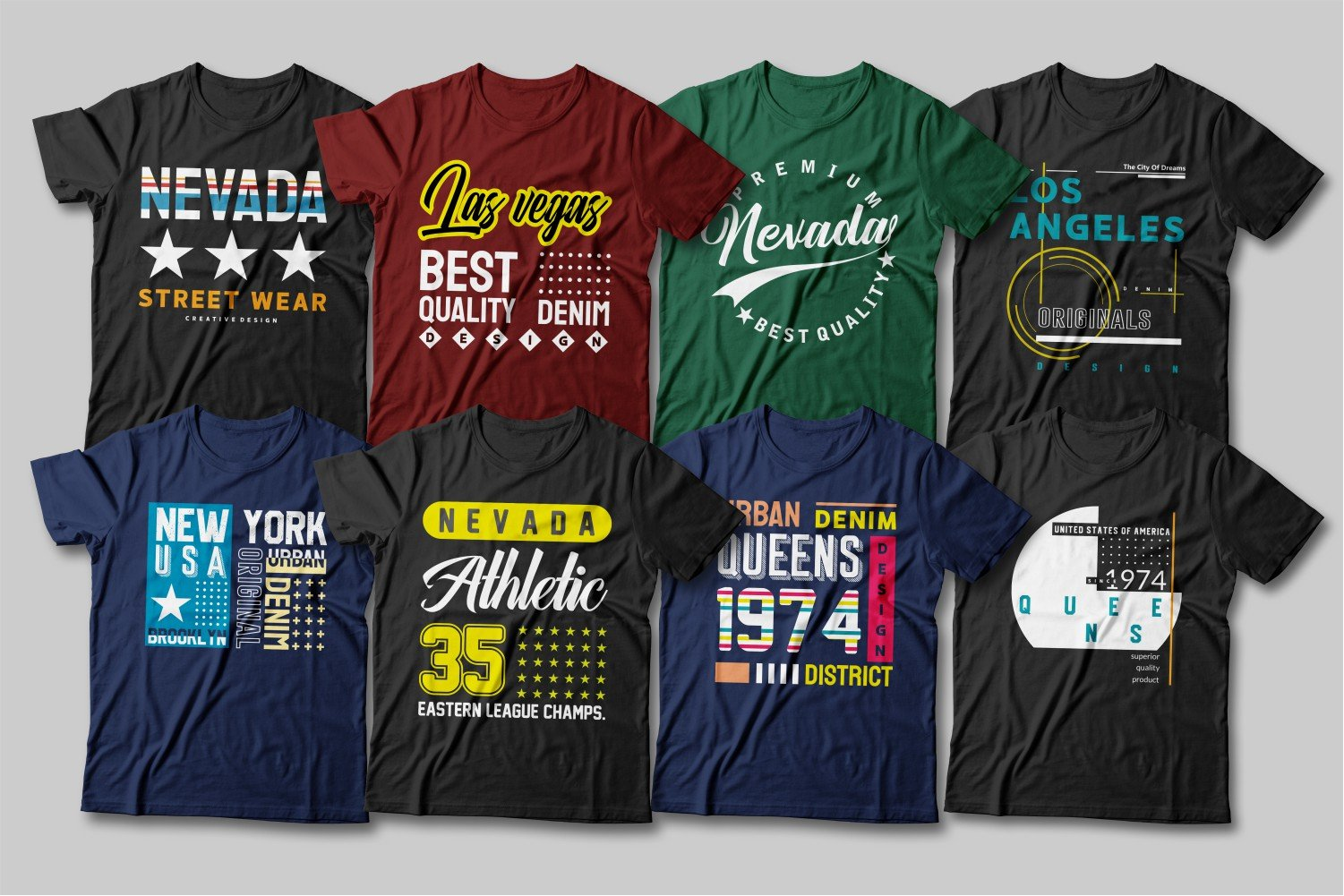 Different T-shirts with a variety of colorful logos and a variety of lettering.