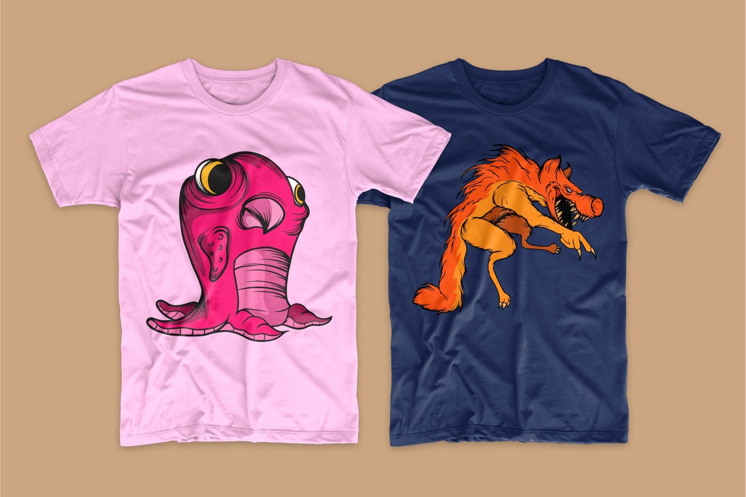 A pink T-shirt with a large crimson seal and a blue one with a red werewolf.