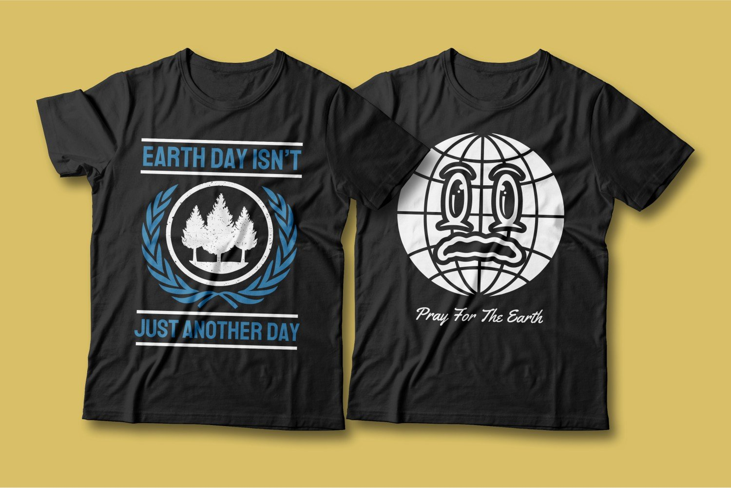 Two T-shirts - both black with appeals to protect nature.