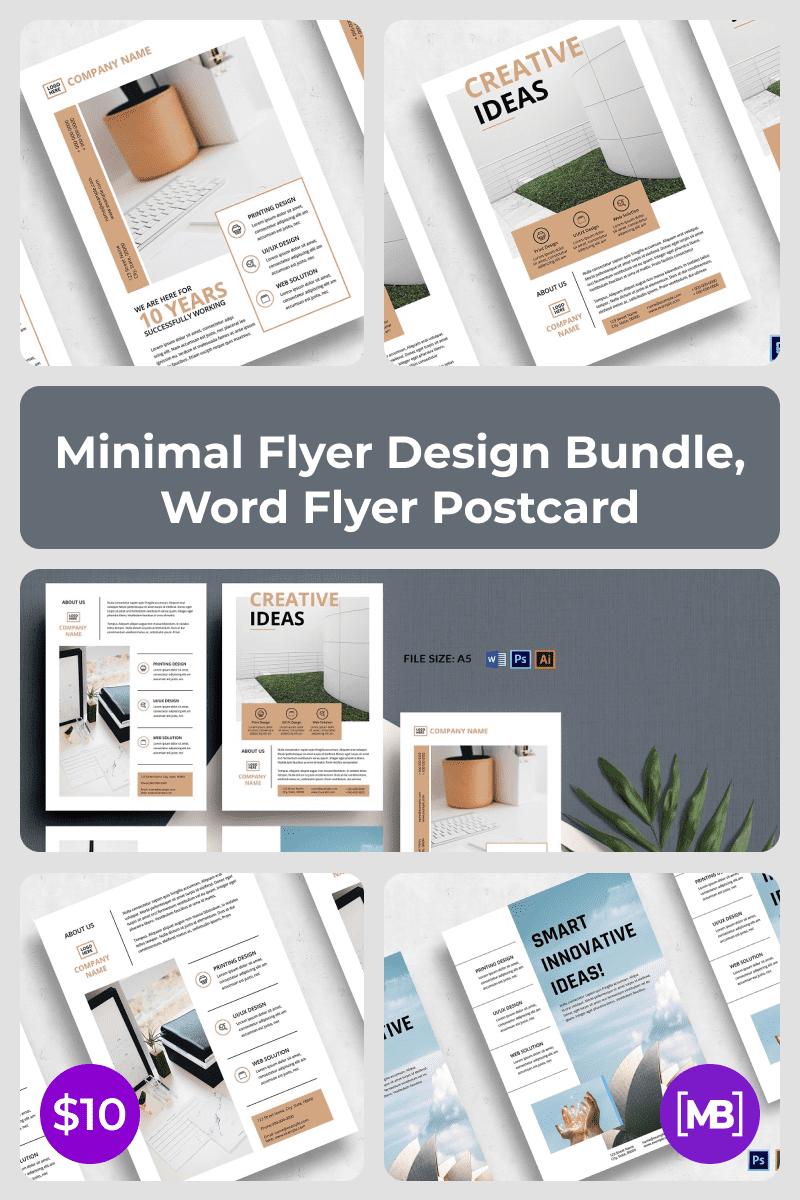 Minimal Flyer Design Bundle, Word Flyer Postcard. Collage Image.