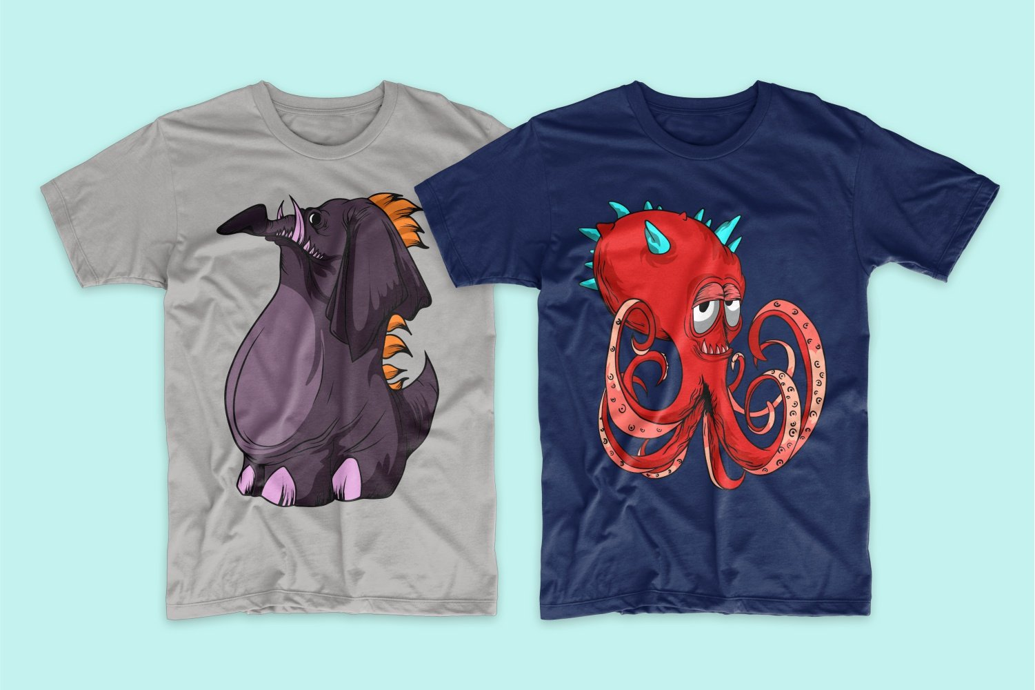 White T-shirt with a dark purple elephant with an orange tufted and blue with a red octopus with blue horns.