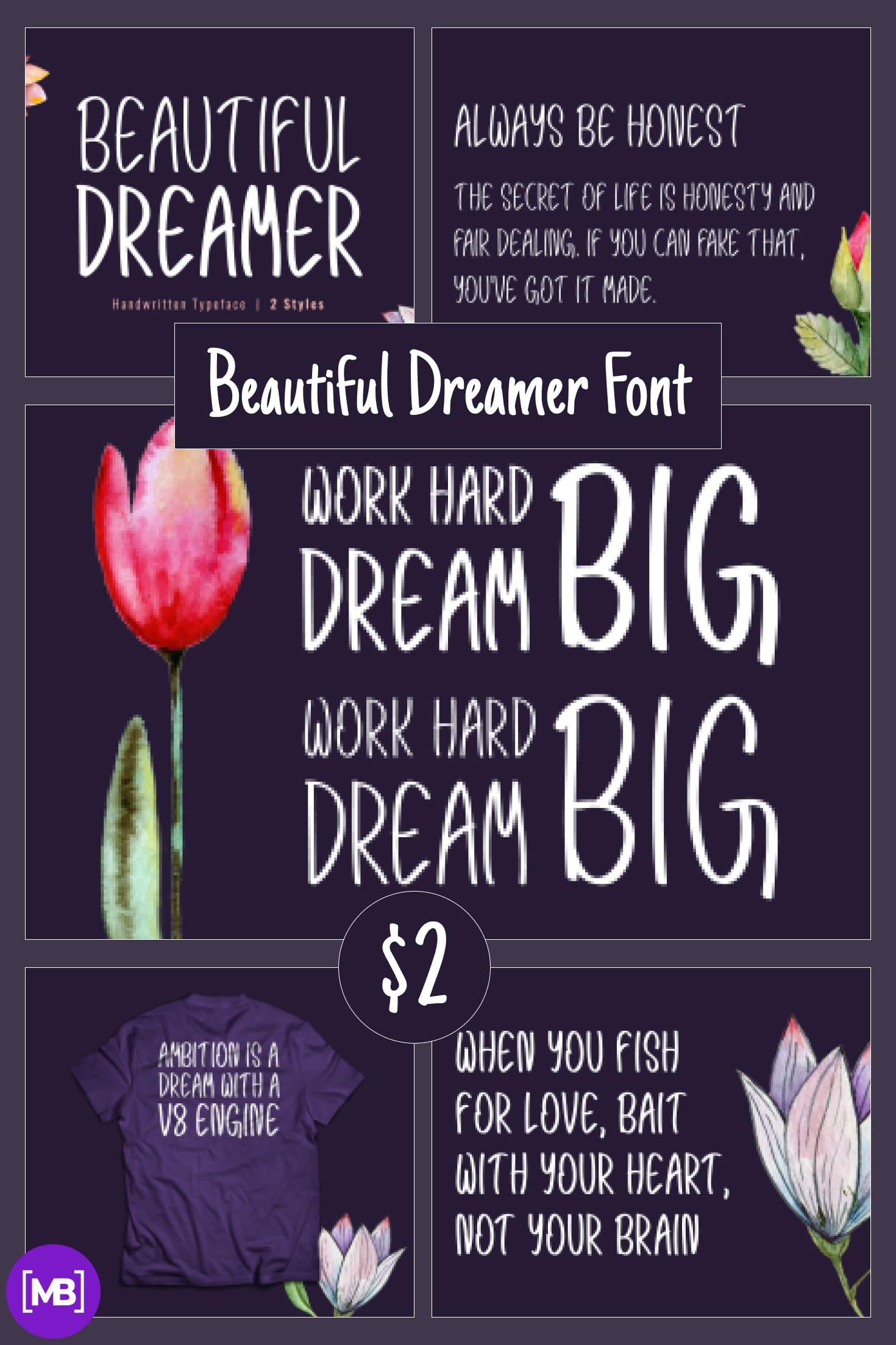 Pinterest Image: Beautiful Dreamer Font – Modern Handwritten Typeface – $2.