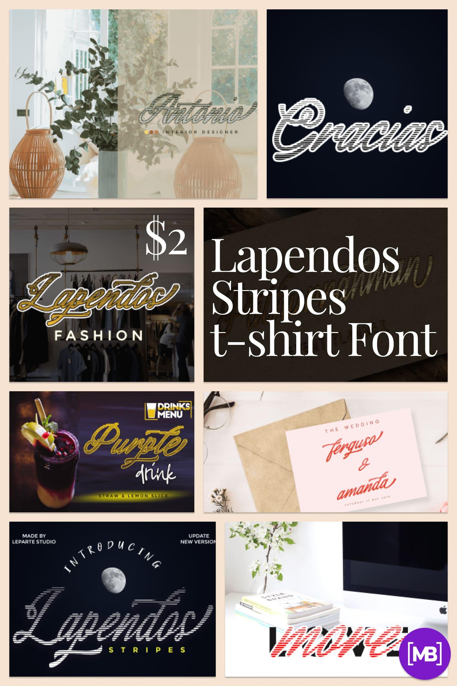 Pinterest Image: Lapendos Stripes t-shirt Font - $2.