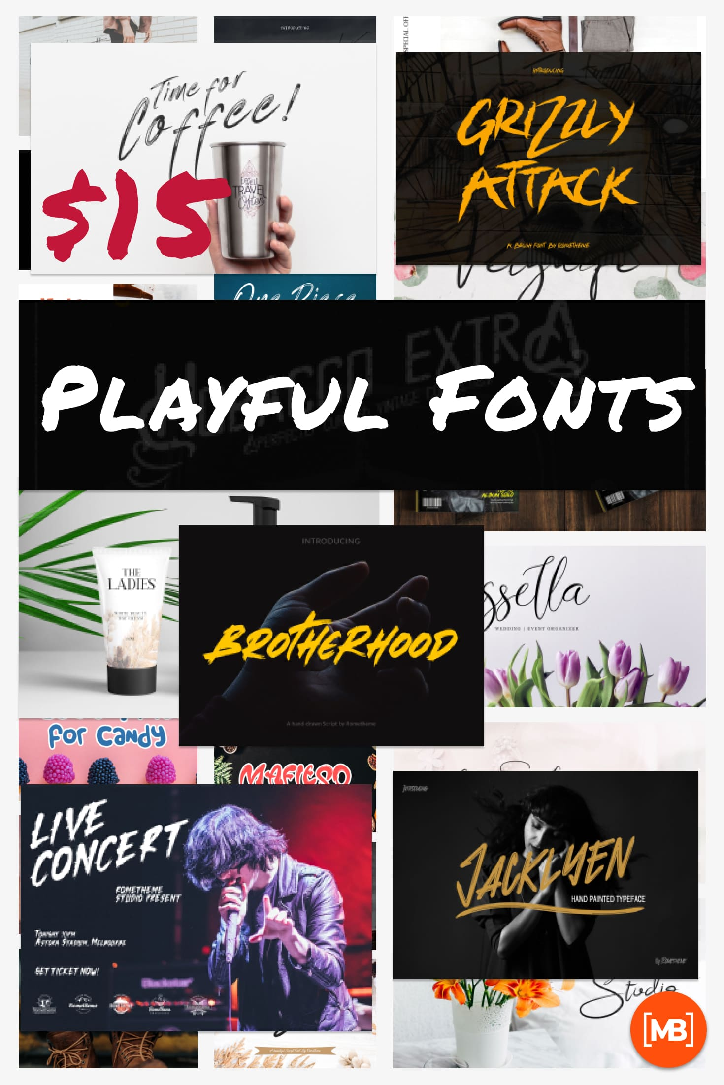Pinterest Image: Playful Fonts - Exclusive Font Bundle - 30 Items for $15.
