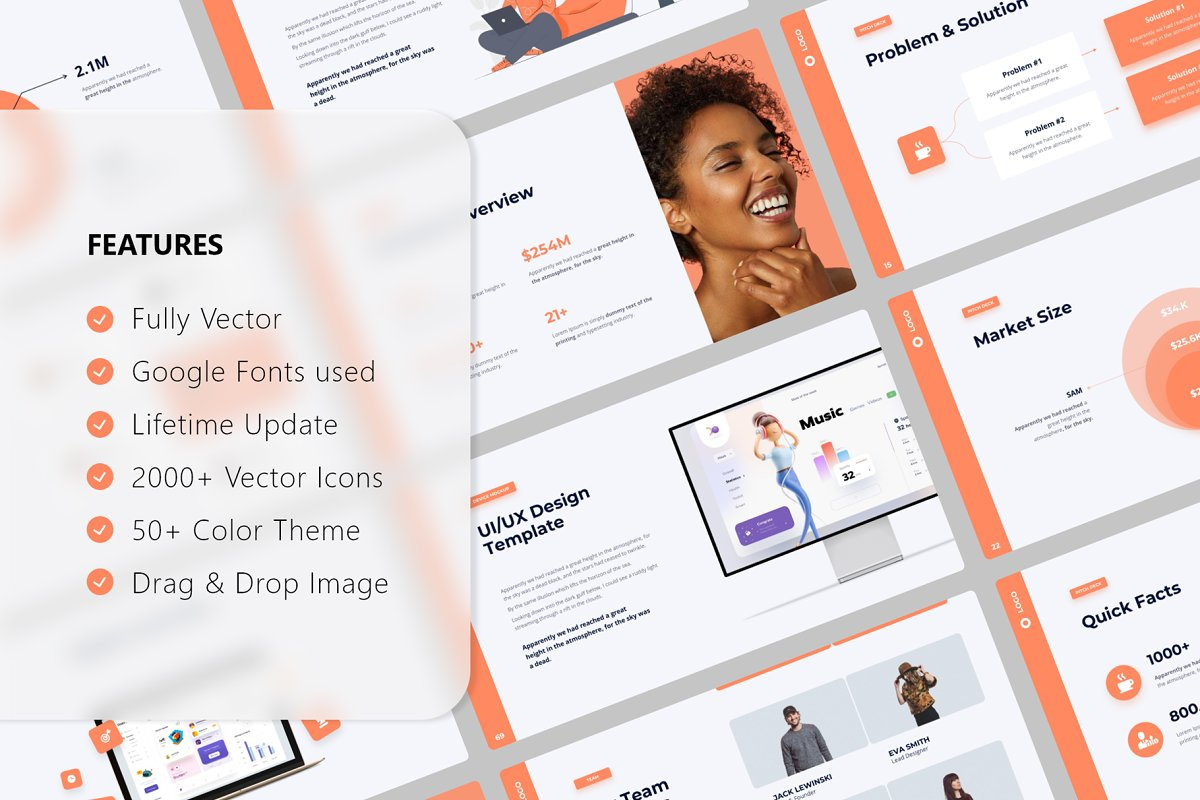Features of Pitch Deck & Presentation Animated Smooth Template.