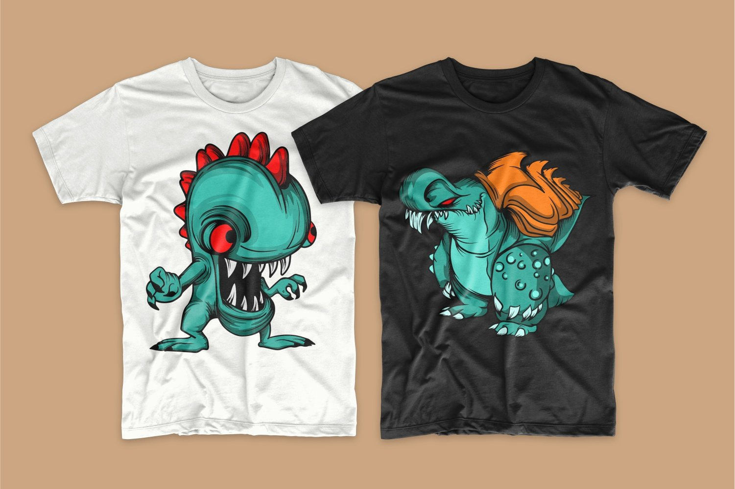 White T-shirt with a green playful monster with a red tuft and a black one with an emerald monster with red tails.